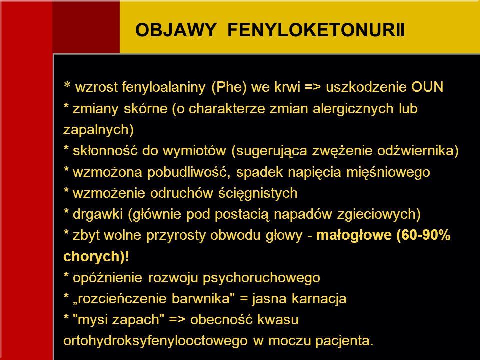 OBJAWY FENYLOKETONURII * wzrost fenyloalaniny (Phe) we krwi => uszkodzenie OUN * zmiany skórne (o charakterze zmian alergicznych lub zapalnych) * skło