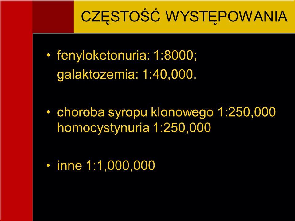 CZĘSTOŚĆ WYSTĘPOWANIA fenyloketonuria: 1:8000; galaktozemia: 1:40,000. choroba syropu klonowego 1:250,000 homocystynuria 1:250,000 inne 1:1,000,000