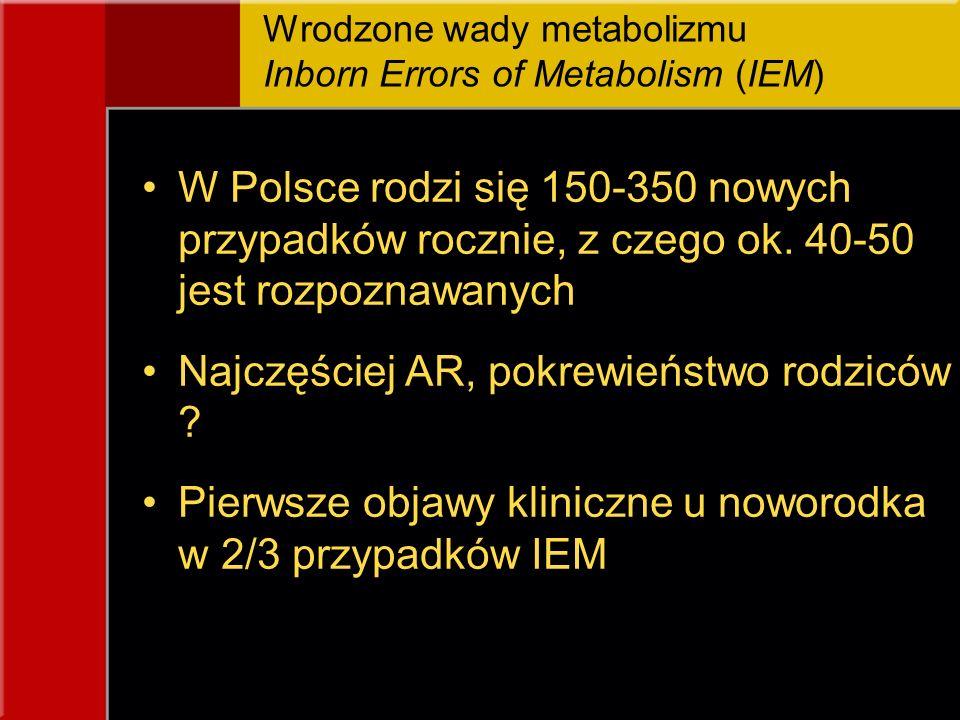 Wrodzone wady metabolizmu Inborn Errors of Metabolism (IEM) W Polsce rodzi się 150-350 nowych przypadków rocznie, z czego ok. 40-50 jest rozpoznawanyc