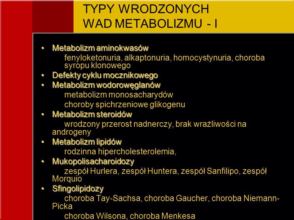 TYPY WRODZONYCH WAD METABOLIZMU - I Metabolizm aminokwasówMetabolizm aminokwasów fenyloketonuria, alkaptonuria, homocystynuria, choroba syropu klonowe