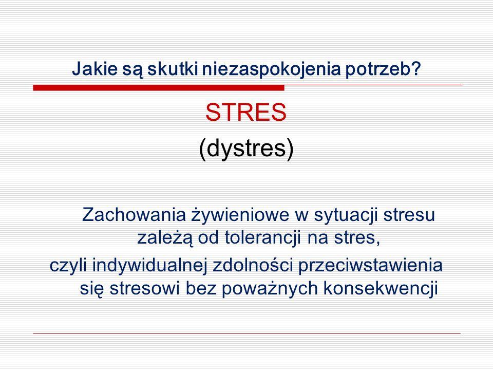 Jakie są skutki niezaspokojenia potrzeb? STRES (dystres) Zachowania żywieniowe w sytuacji stresu zależą od tolerancji na stres, czyli indywidualnej zd