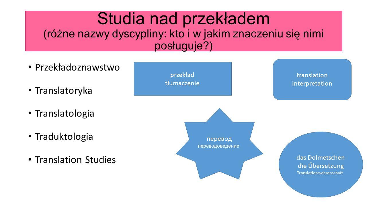 Studia nad przekładem (różne nazwy dyscypliny: kto i w jakim znaczeniu się nimi posługuje?) Przekładoznawstwo Translatoryka Translatologia Traduktolog