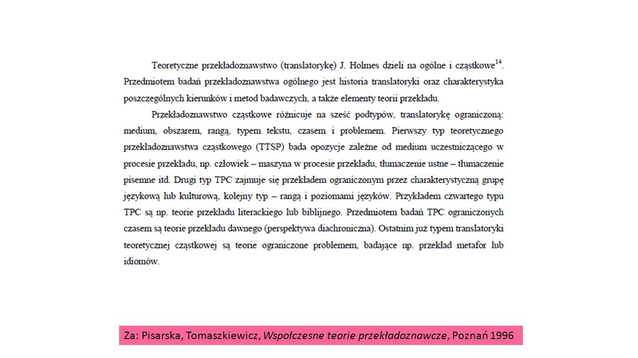 Za: Pisarska, Tomaszkiewicz, Wspołczesne teorie przekładoznawcze, Poznań 1996