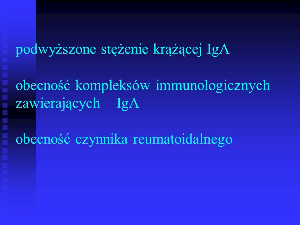 podwyższone stężenie krążącej IgA obecność kompleksów immunologicznych zawierających IgA obecność czynnika reumatoidalnego