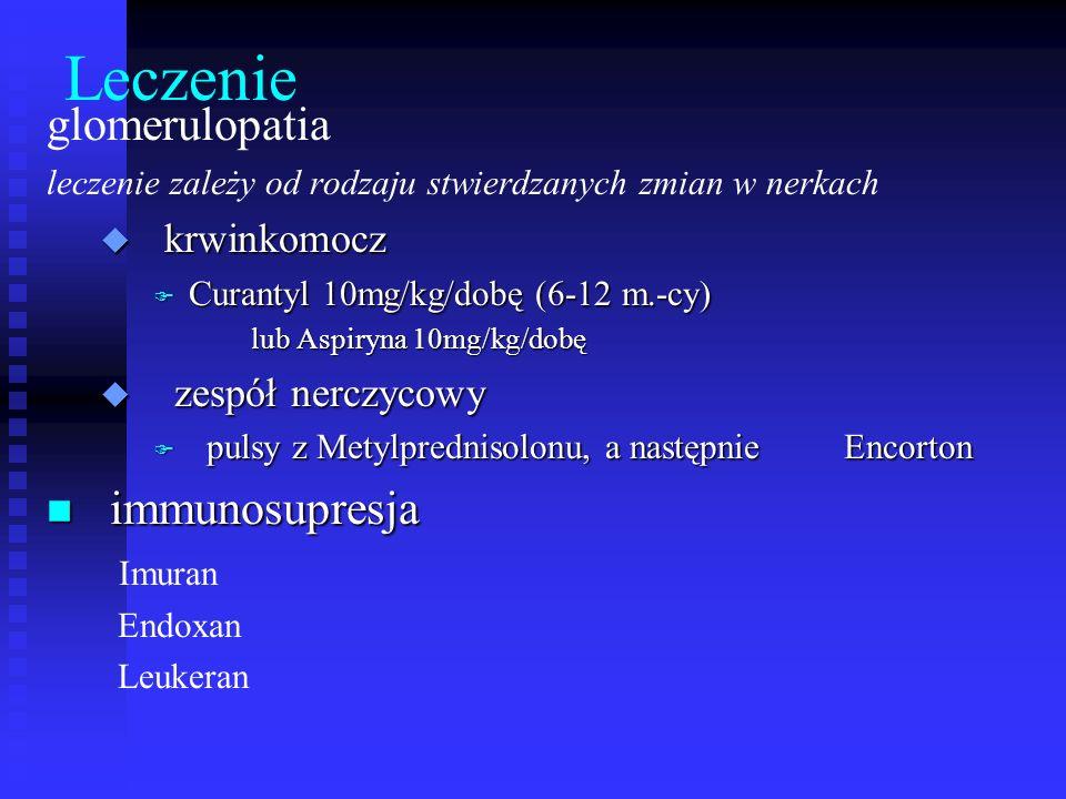 Leczenie glomerulopatia leczenie zależy od rodzaju stwierdzanych zmian w nerkach u krwinkomocz F Curantyl 10mg/kg/dobę (6-12 m.-cy) lub Aspiryna 10mg/