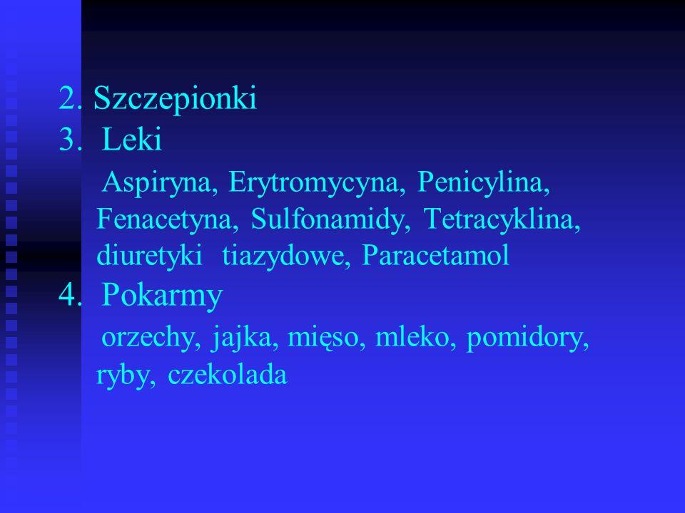 2. Szczepionki 3. Leki Aspiryna, Erytromycyna, Penicylina, Fenacetyna, Sulfonamidy, Tetracyklina, diuretyki tiazydowe, Paracetamol 4. Pokarmy orzechy,