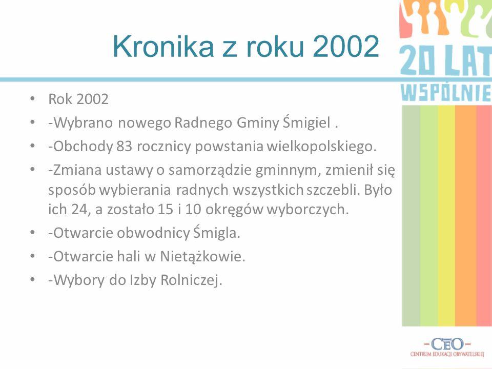 Kronika z roku 2002 Rok 2002 -Wybrano nowego Radnego Gminy Śmigiel.
