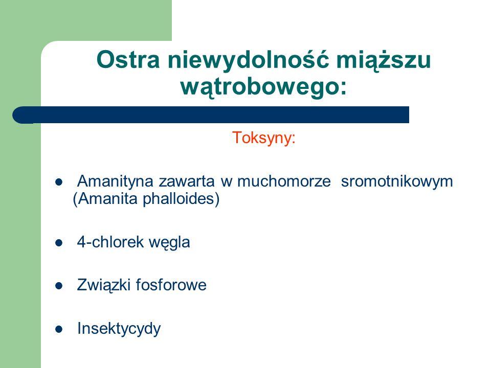 Ostra niewydolność miąższu wątrobowego: Toksyny: Amanityna zawarta w muchomorze sromotnikowym (Amanita phalloides) 4-chlorek węgla Związki fosforowe Insektycydy