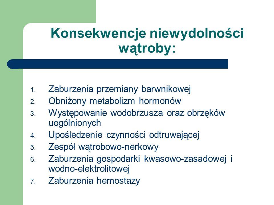 Konsekwencje niewydolności wątroby: 1. Zaburzenia przemiany barwnikowej 2. Obniżony metabolizm hormonów 3. Występowanie wodobrzusza oraz obrzęków uogó