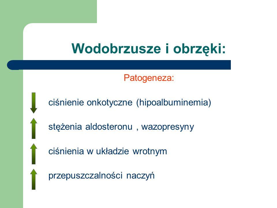 Patogeneza: ciśnienie onkotyczne (hipoalbuminemia) stężenia aldosteronu, wazopresyny ciśnienia w układzie wrotnym przepuszczalności naczyń