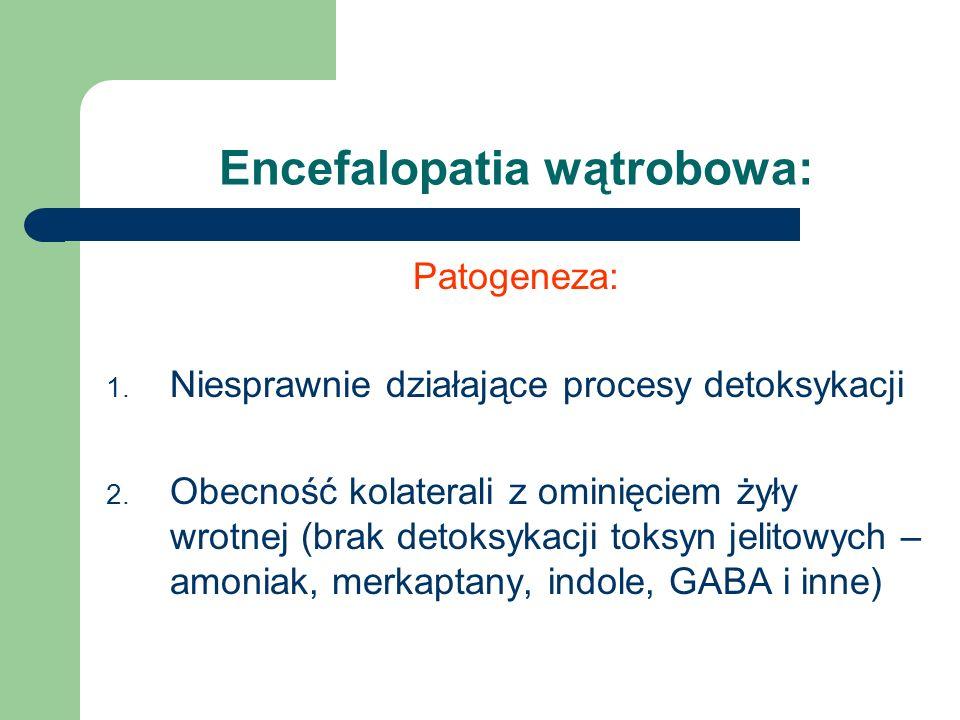 Patogeneza: 1. Niesprawnie działające procesy detoksykacji 2. Obecność kolaterali z ominięciem żyły wrotnej (brak detoksykacji toksyn jelitowych – amo