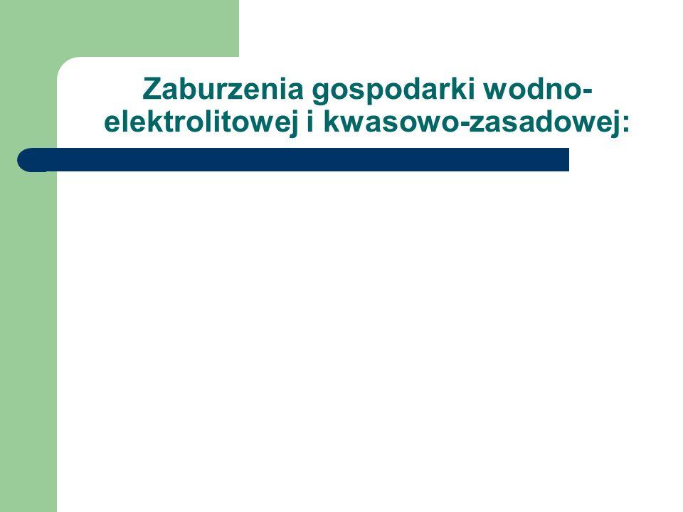 Zaburzenia gospodarki wodno- elektrolitowej i kwasowo-zasadowej: