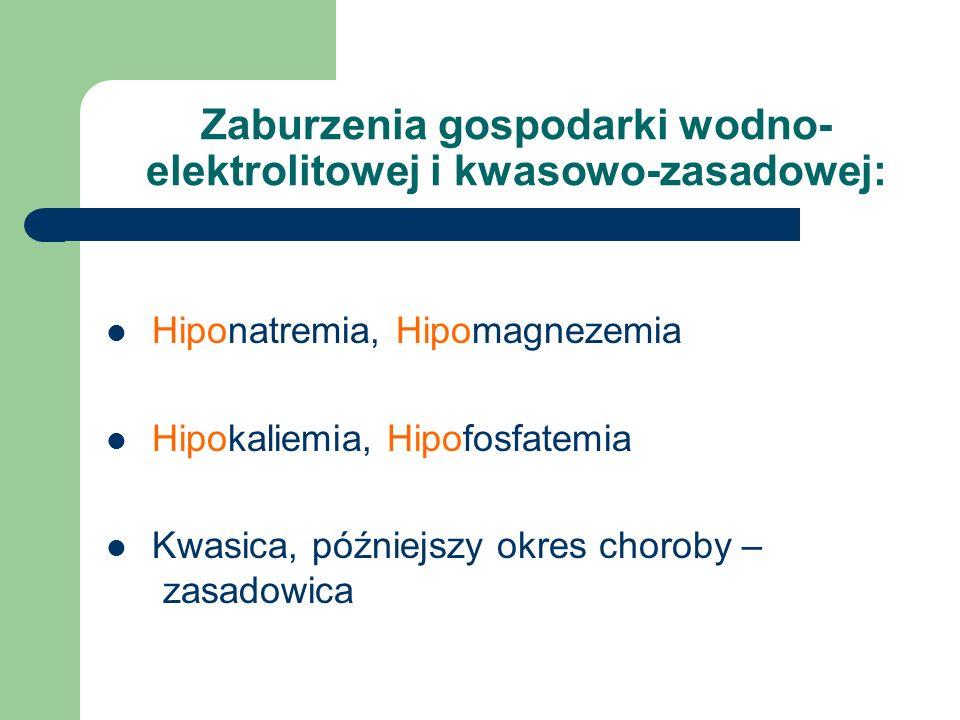 Hiponatremia, Hipomagnezemia Hipokaliemia, Hipofosfatemia Kwasica, późniejszy okres choroby – dzasadowica
