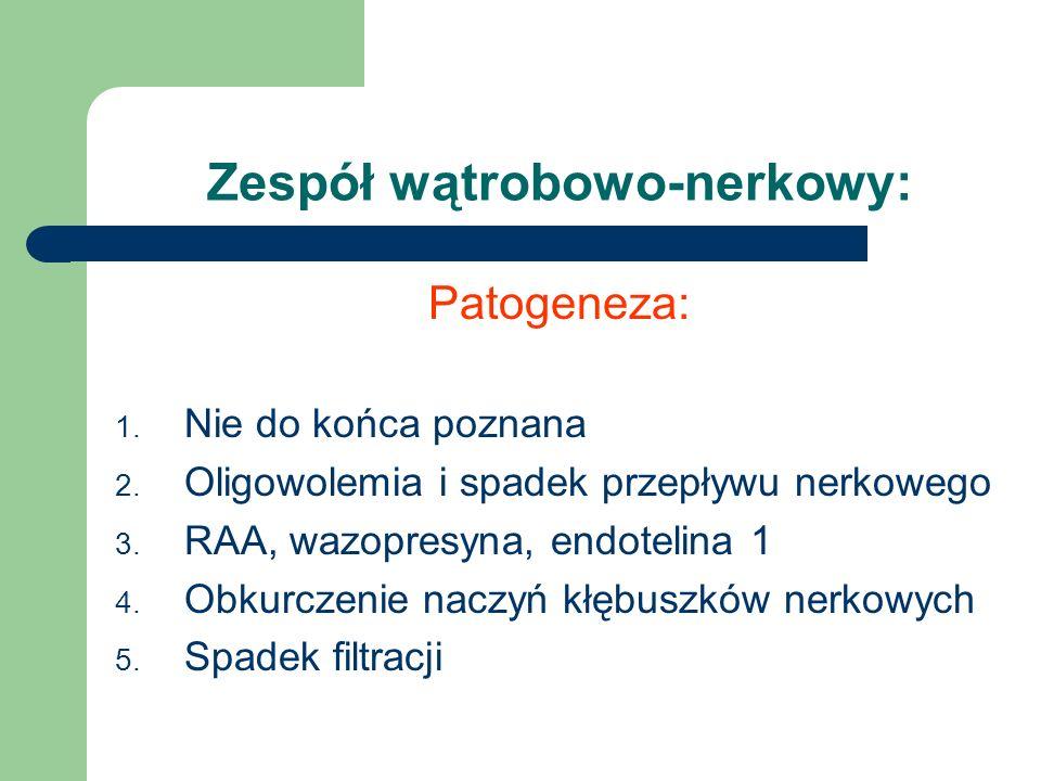 Zespół wątrobowo-nerkowy: Patogeneza: 1. Nie do końca poznana 2. Oligowolemia i spadek przepływu nerkowego 3. RAA, wazopresyna, endotelina 1 4. Obkurc