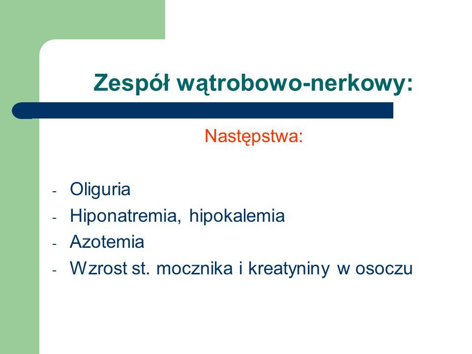 Zespół wątrobowo-nerkowy: Następstwa: - Oliguria - Hiponatremia, hipokalemia - Azotemia - Wzrost st. mocznika i kreatyniny w osoczu