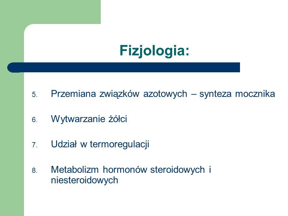 Fizjologia: 5. Przemiana związków azotowych – synteza mocznika 6. Wytwarzanie żółci 7. Udział w termoregulacji 8. Metabolizm hormonów steroidowych i n