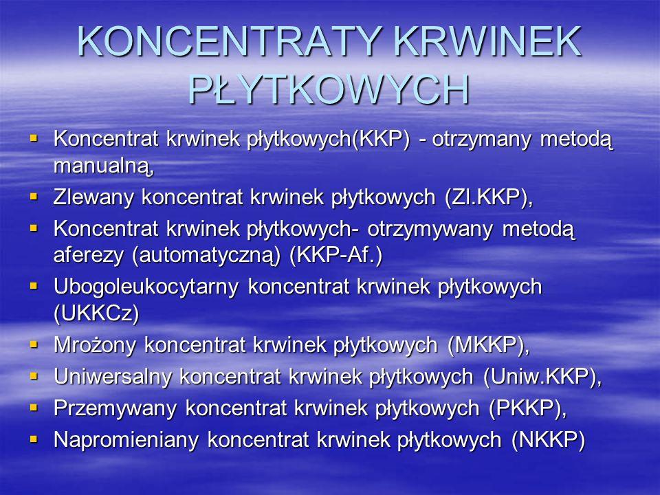 KONCENTRATY KRWINEK PŁYTKOWYCH  Koncentrat krwinek płytkowych(KKP) - otrzymany metodą manualną,  Zlewany koncentrat krwinek płytkowych (Zl.KKP),  Koncentrat krwinek płytkowych- otrzymywany metodą aferezy (automatyczną) (KKP-Af.)  Ubogoleukocytarny koncentrat krwinek płytkowych (UKKCz)  Mrożony koncentrat krwinek płytkowych (MKKP),  Uniwersalny koncentrat krwinek płytkowych (Uniw.KKP),  Przemywany koncentrat krwinek płytkowych (PKKP),  Napromieniany koncentrat krwinek płytkowych (NKKP)