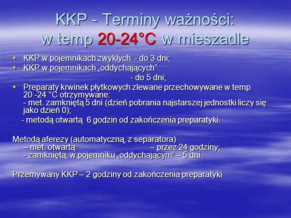 """KKP - Terminy ważności: w temp 20-24°C w mieszadle  KKP w pojemnikach zwykłych - do 3 dni;  KKP w pojemnikach """"oddychających - do 5 dni; - do 5 dni;  Preparaty krwinek płytkowych zlewane przechowywane w temp 20 -24 °C otrzymywane: - met."""
