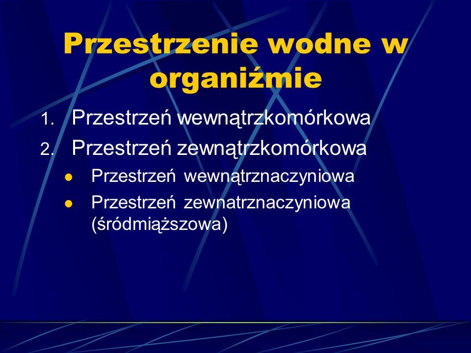 Przestrzenie wodne w organiźmie 1. Przestrzeń wewnątrzkomórkowa 2. Przestrzeń zewnątrzkomórkowa Przestrzeń wewnątrznaczyniowa Przestrzeń zewnatrznaczy