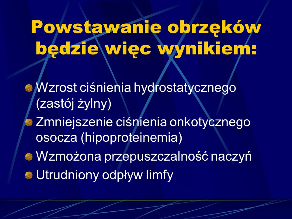Powstawanie obrzęków będzie więc wynikiem: Wzrost ciśnienia hydrostatycznego (zastój żylny) Zmniejszenie ciśnienia onkotycznego osocza (hipoproteinemi