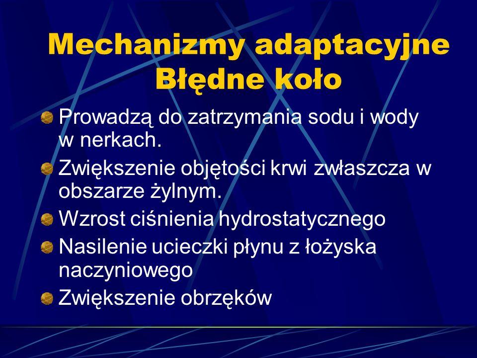 Mechanizmy adaptacyjne Błędne koło Prowadzą do zatrzymania sodu i wody w nerkach. Zwiększenie objętości krwi zwłaszcza w obszarze żylnym. Wzrost ciśni