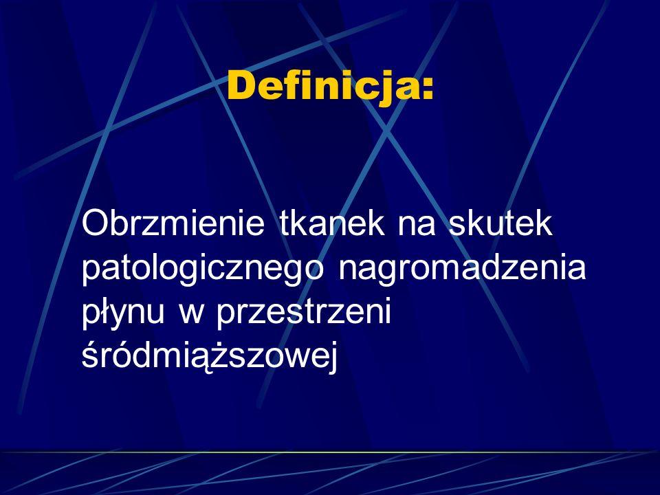 Obrzęki uogólnione 1) Pochodzenia sercowego  Ostra niewydolność lewokomorowa (np.