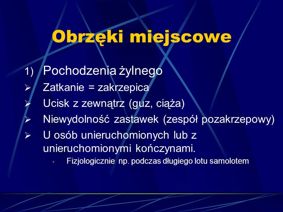 Obrzęki miejscowe 1) Pochodzenia żylnego  Zatkanie = zakrzepica  Ucisk z zewnątrz (guz, ciąża)  Niewydolność zastawek (zespół pozakrzepowy)  U osó