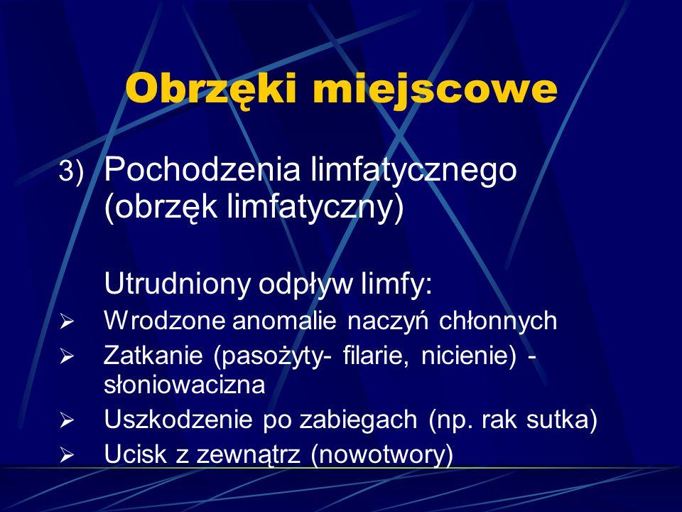 Obrzęki miejscowe 3) Pochodzenia limfatycznego (obrzęk limfatyczny) Utrudniony odpływ limfy:  Wrodzone anomalie naczyń chłonnych  Zatkanie (pasożyty
