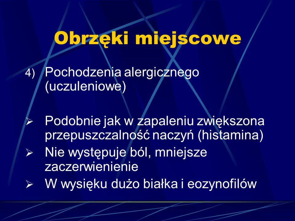 Obrzęki miejscowe 4) Pochodzenia alergicznego (uczuleniowe)  Podobnie jak w zapaleniu zwiększona przepuszczalność naczyń (histamina)  Nie występuje