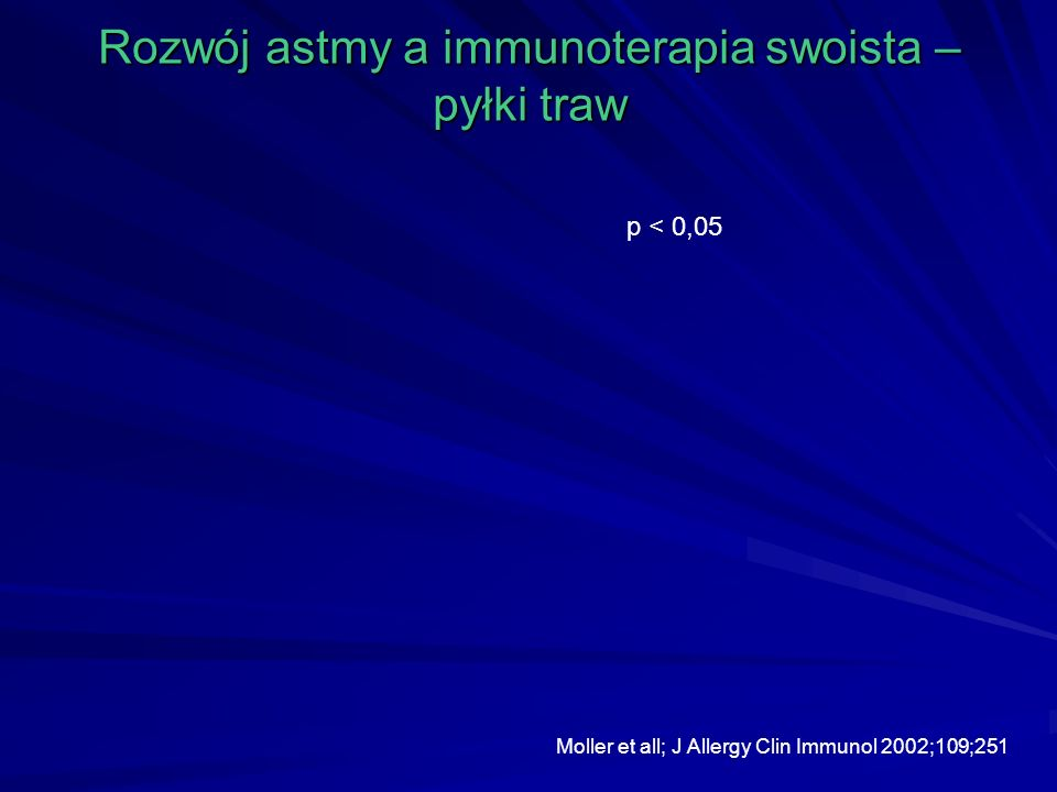 Rozwój astmy a immunoterapia swoista – pyłki traw p < 0,05 Moller et all; J Allergy Clin Immunol 2002;109;251