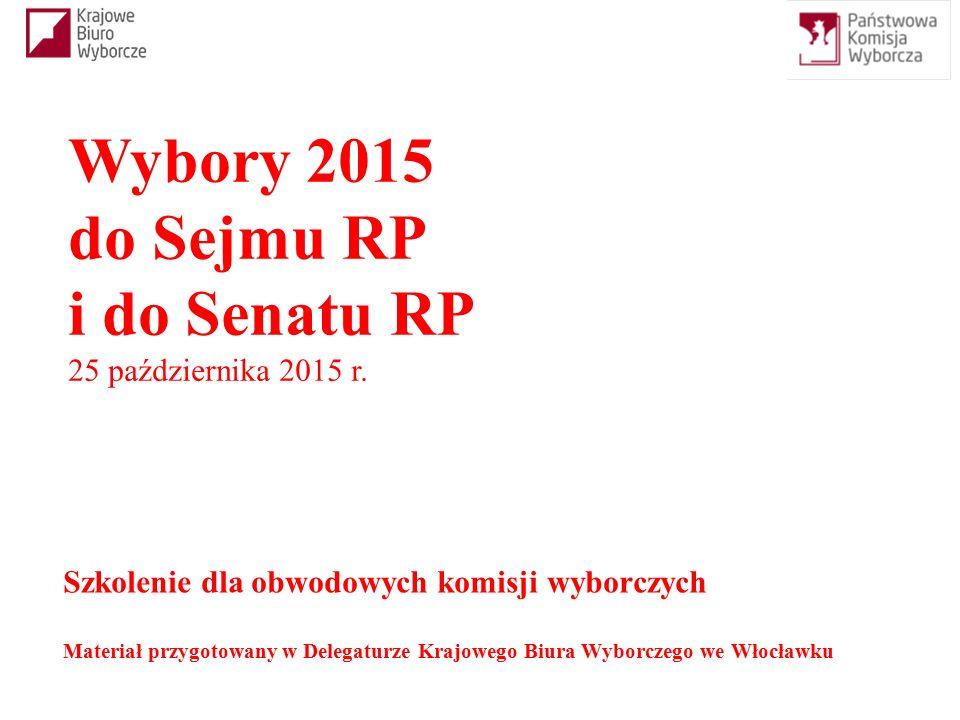Szkolenie dla obwodowych komisji wyborczych Materiał przygotowany w Delegaturze Krajowego Biura Wyborczego we Włocławku Wybory 2015 do Sejmu RP i do Senatu RP 25 października 2015 r.