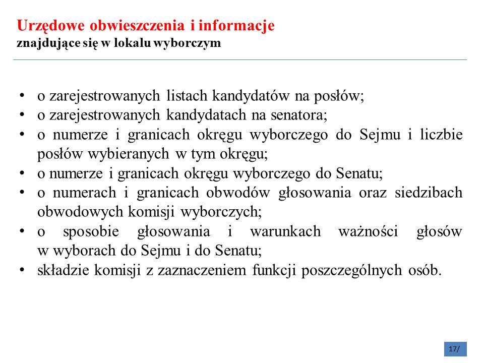 Urzędowe obwieszczenia i informacje znajdujące się w lokalu wyborczym o zarejestrowanych listach kandydatów na posłów; o zarejestrowanych kandydatach na senatora; o numerze i granicach okręgu wyborczego do Sejmu i liczbie posłów wybieranych w tym okręgu; o numerze i granicach okręgu wyborczego do Senatu; o numerach i granicach obwodów głosowania oraz siedzibach obwodowych komisji wyborczych; o sposobie głosowania i warunkach ważności głosów w wyborach do Sejmu i do Senatu; składzie komisji z zaznaczeniem funkcji poszczególnych osób.