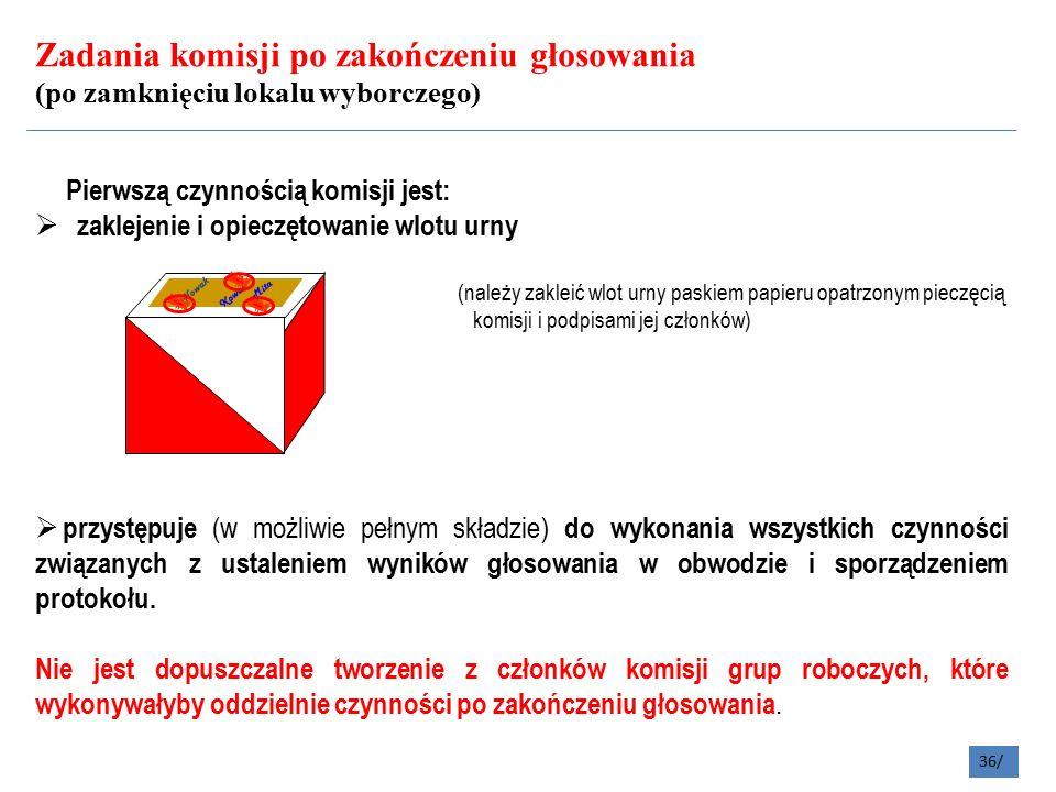 Zadania komisji po zakończeniu głosowania (po zamknięciu lokalu wyborczego) 36/ Pierwszą czynnością komisji jest:  zaklejenie i opieczętowanie wlotu urny (należy zakleić wlot urny paskiem papieru opatrzonym pieczęcią komisji i podpisami jej członków)  przystępuje (w możliwie pełnym składzie) do wykonania wszystkich czynności związanych z ustaleniem wyników głosowania w obwodzie i sporządzeniem protokołu.