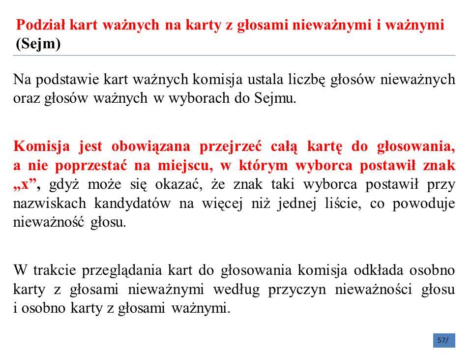 Podział kart ważnych na karty z głosami nieważnymi i ważnymi (Sejm) 57/ Na podstawie kart ważnych komisja ustala liczbę głosów nieważnych oraz głosów ważnych w wyborach do Sejmu.