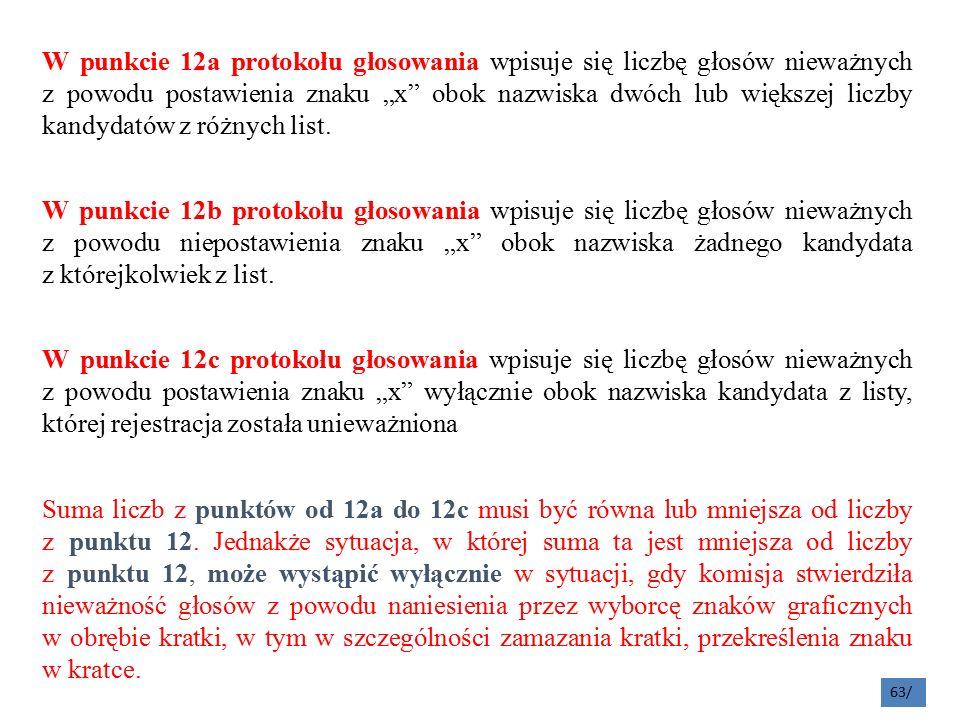 """W punkcie 12a protokołu głosowania wpisuje się liczbę głosów nieważnych z powodu postawienia znaku """"x obok nazwiska dwóch lub większej liczby kandydatów z różnych list."""