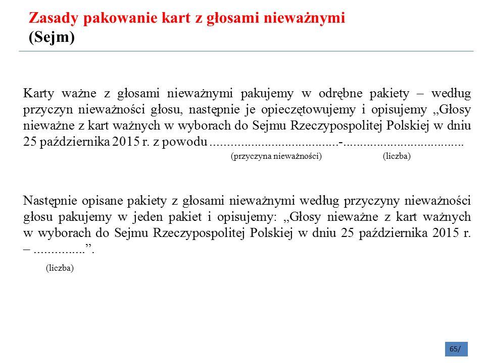 """Karty ważne z głosami nieważnymi pakujemy w odrębne pakiety – według przyczyn nieważności głosu, następnie je opieczętowujemy i opisujemy """"Głosy nieważne z kart ważnych w wyborach do Sejmu Rzeczypospolitej Polskiej w dniu 25 października 2015 r."""