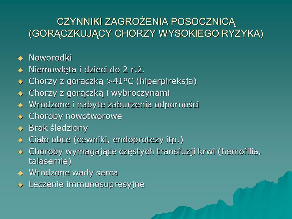CZYNNIKI ZAGROŻENIA POSOCZNICĄ (GORĄCZKUJĄCY CHORZY WYSOKIEGO RYZYKA)  Noworodki  Niemowlęta i dzieci do 2 r.ż.  Chorzy z gorączką >41°C (hiperpire