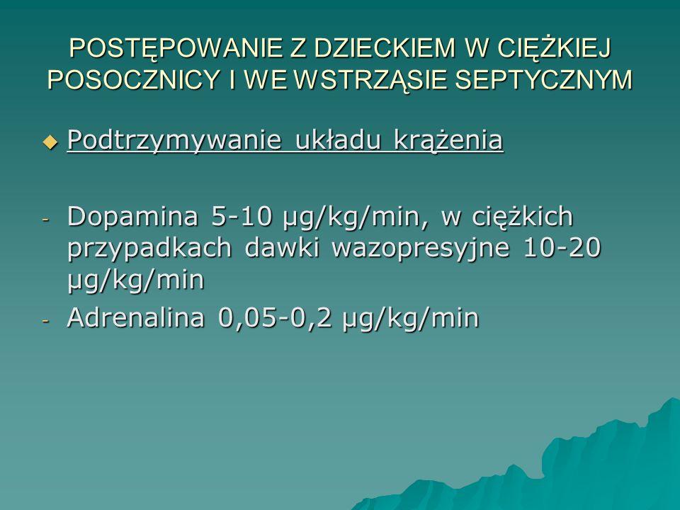 POSTĘPOWANIE Z DZIECKIEM W CIĘŻKIEJ POSOCZNICY I WE WSTRZĄSIE SEPTYCZNYM  Podtrzymywanie układu krążenia - Dopamina 5-10 µg/kg/min, w ciężkich przypa
