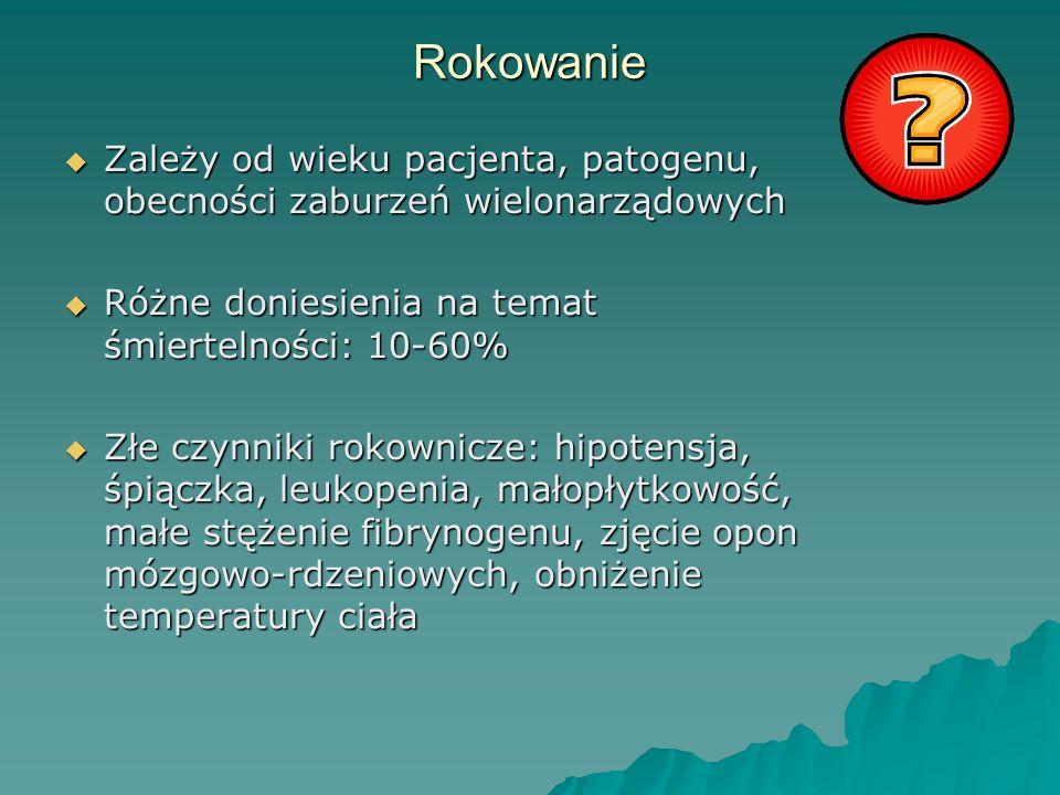 Rokowanie  Zależy od wieku pacjenta, patogenu, obecności zaburzeń wielonarządowych  Różne doniesienia na temat śmiertelności: 10-60%  Złe czynniki