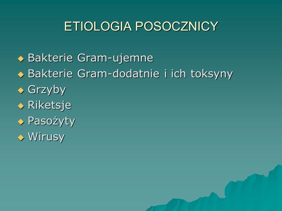 ETIOLOGIA POSOCZNICY  Bakterie Gram-ujemne  Bakterie Gram-dodatnie i ich toksyny  Grzyby  Riketsje  Pasożyty  Wirusy