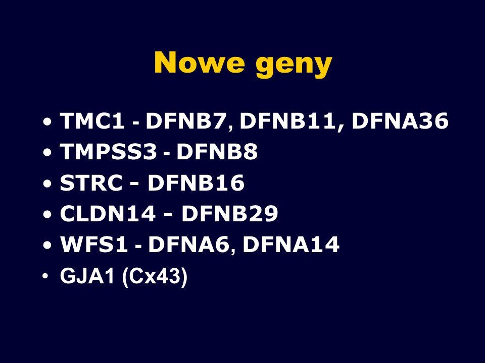 Nowe geny TMC1 - DFNB7, DFNB11, DFNA36 TMPSS3 - DFNB8 STRC - DFNB16 CLDN14 - DFNB29 WFS1 - DFNA6, DFNA14 GJA1 (Cx43)