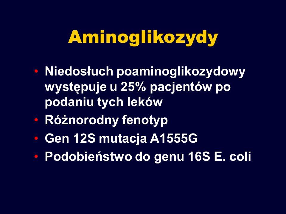 Aminoglikozydy Niedosłuch poaminoglikozydowy występuje u 25% pacjentów po podaniu tych leków Różnorodny fenotyp Gen 12S mutacja A1555G Podobieństwo do