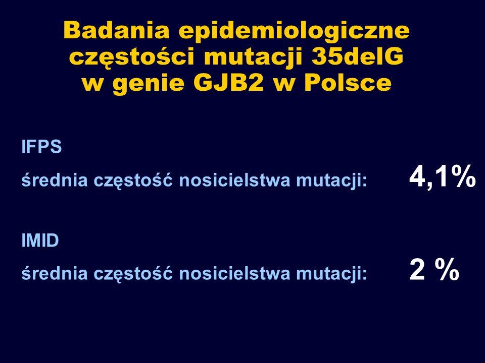 Badania epidemiologiczne częstości mutacji 35delG w genie GJB2 w Polsce IFPS średnia częstość nosicielstwa mutacji: 4,1% IMID średnia częstość nosicie