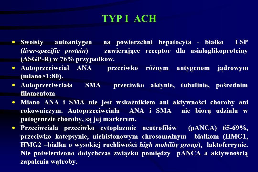 TYP I ACH  Swoisty autoantygen na powierzchni hepatocyta - białko LSP (liver-specific protein) zawierające receptor dla asialoglikoproteiny (ASGP-R) w 76% przypadków.