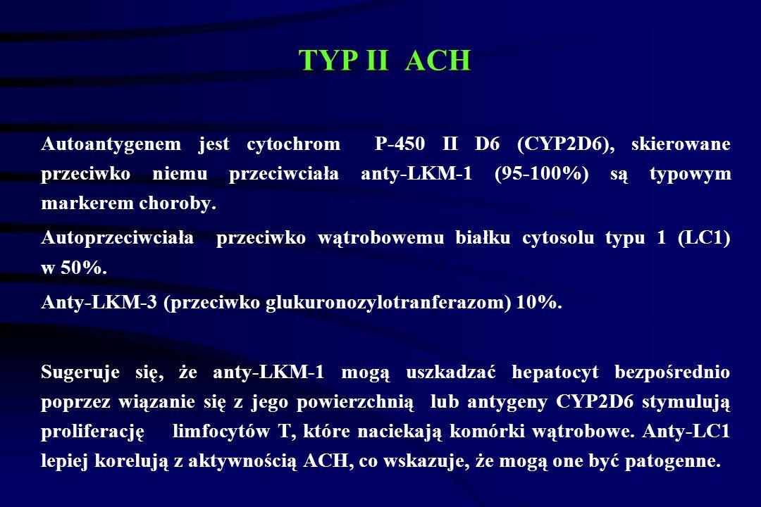 TYP II ACH TYP II ACH Autoantygenem jest cytochrom P-450 II D6 (CYP2D6), skierowane przeciwko niemu przeciwciała anty-LKM-1 (95-100%) są typowym markerem choroby.
