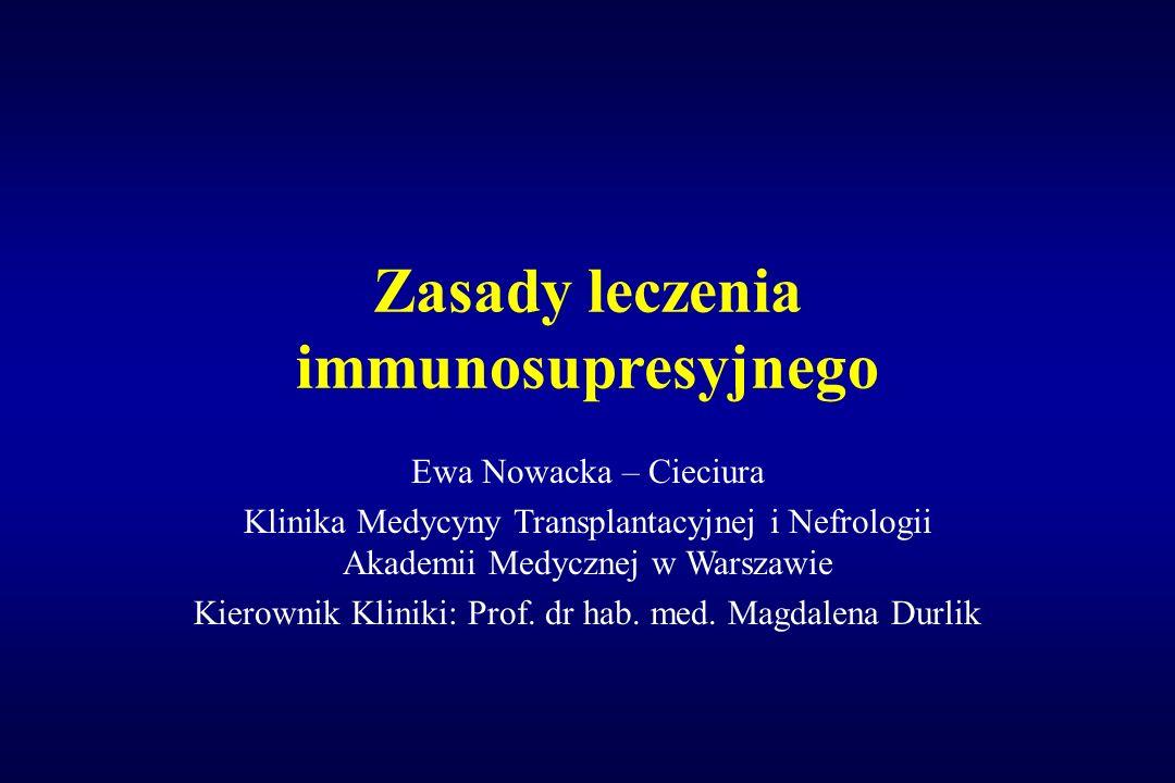 Zasady leczenia immunosupresyjnego Ewa Nowacka – Cieciura Klinika Medycyny Transplantacyjnej i Nefrologii Akademii Medycznej w Warszawie Kierownik Kli