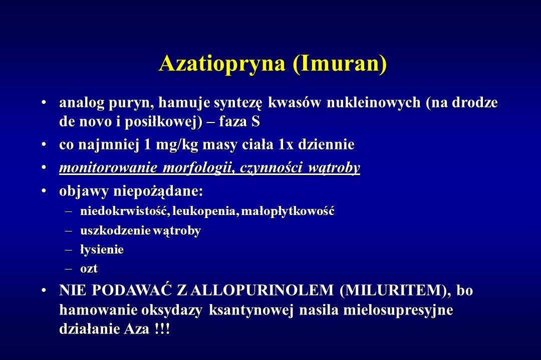 Azatiopryna (Imuran) analog puryn, hamuje syntezę kwasów nukleinowych (na drodze de novo i posiłkowej) – faza Sanalog puryn, hamuje syntezę kwasów nuk