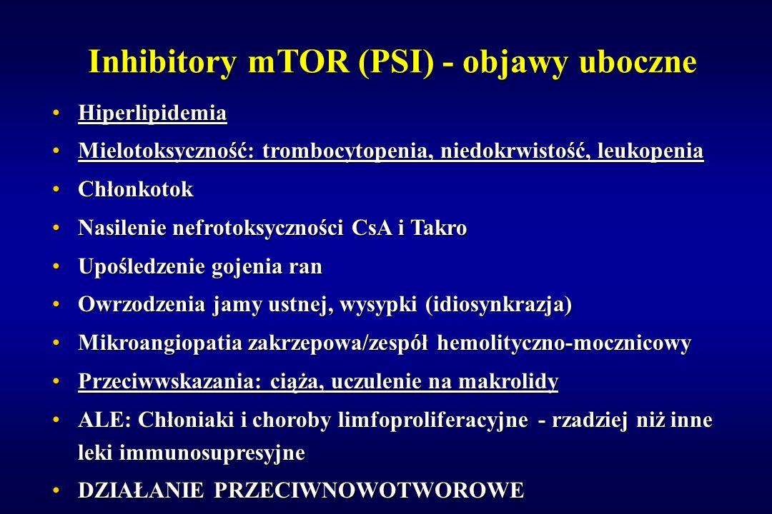 Inhibitory mTOR (PSI) - objawy uboczne HiperlipidemiaHiperlipidemia Mielotoksyczność: trombocytopenia, niedokrwistość, leukopeniaMielotoksyczność: tro