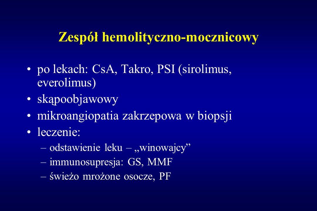 Zespół hemolityczno-mocznicowy po lekach: CsA, Takro, PSI (sirolimus, everolimus) skąpoobjawowy mikroangiopatia zakrzepowa w biopsji leczenie: –odstaw