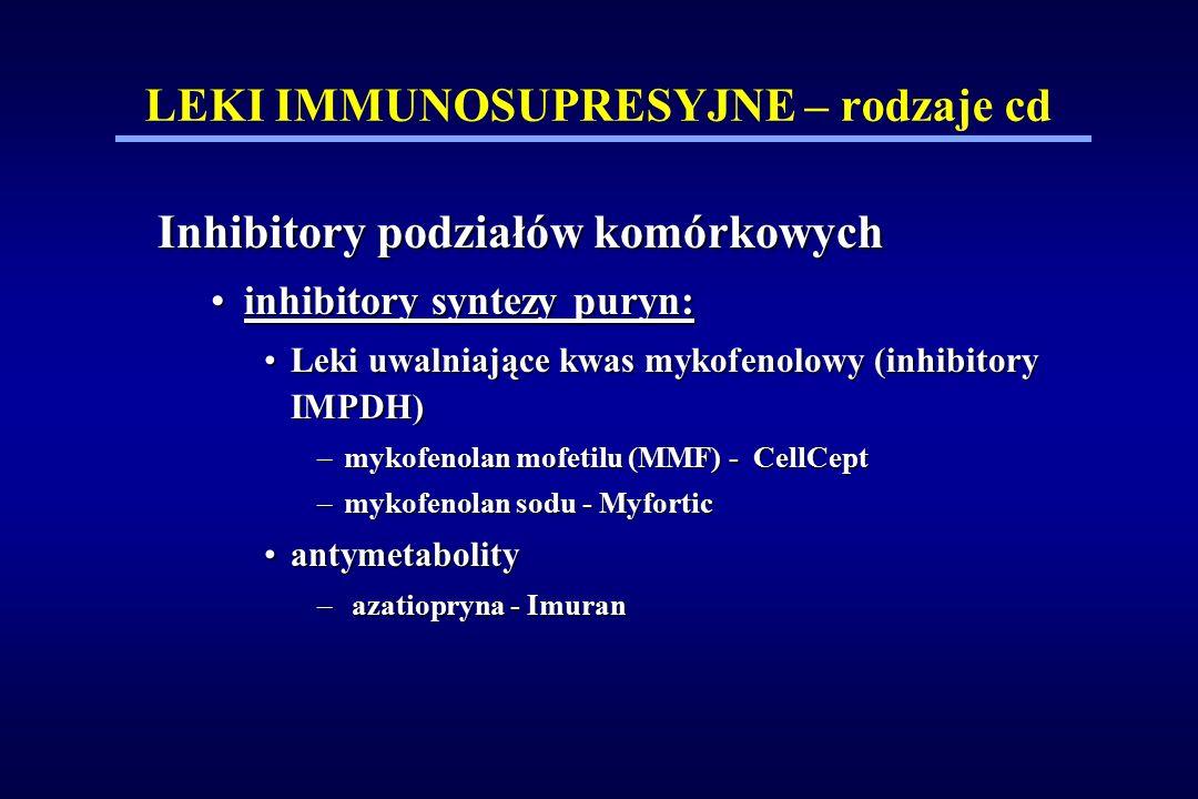 LEKI IMMUNOSUPRESYJNE – rodzaje cd Inhibitory podziałów komórkowych inhibitory syntezy puryn:inhibitory syntezy puryn: Leki uwalniające kwas mykofenol